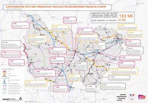 L'ensemble des travaux programmés par SNCF Réseau en Bougogne-Franche-Comté.