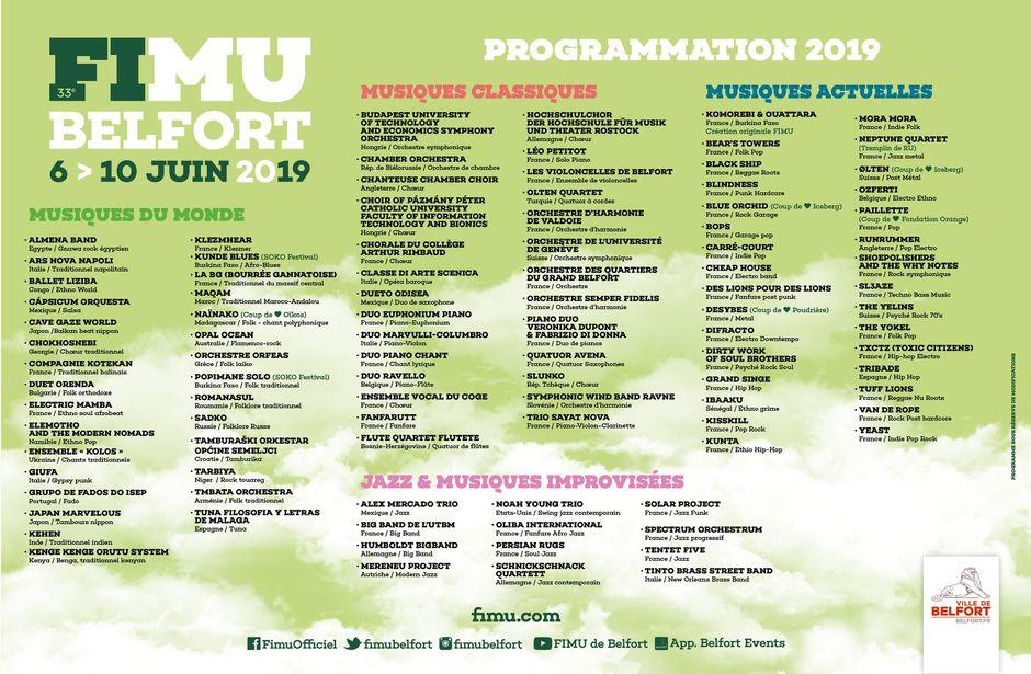 Les groupes et artistes programmés au Fimu 2019, du 6 au 10 juin.