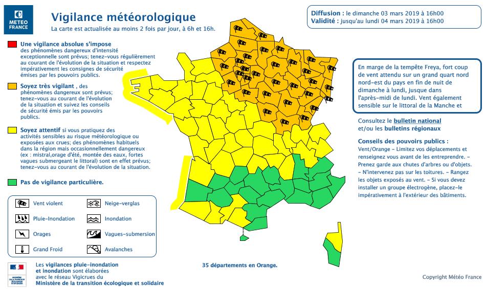 Météo France a placé un bon quart de la France en vigilance orange en raison de vents forts annoncés pour la journée du lundi 4 mars. (carte Météo France)