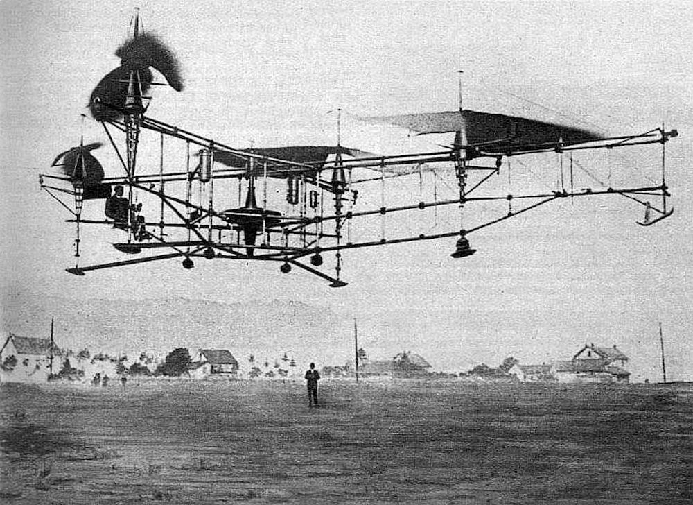 Étienne_Œhmichen_sur_l'Oehmichen_Helicopter_No._2,_le_4_mai_1924_à_Valentigney_(vol_d'1_km_en_circuit_fermé)