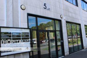 Façade des nouveaux locaux de l'hôpital Nord-Franche-Comté au Techn'Hom.