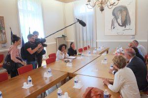 Sophie Élizéon, préfète du Territoire de Belfort, et Magali Martin, directrice de cabinet, ont reçu une délégation de l'intersyndicale, ainsi que le président du Grand Belfort Damien Meslot et la présidente de la Région Bourgogne-Franche-Comté, Marie-Guite Dufay.
