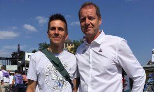 Alexis Sesmat (Sud Industrie) a échangé quelques mots avec Christian Prudhomme, le directeur du Tour de France.