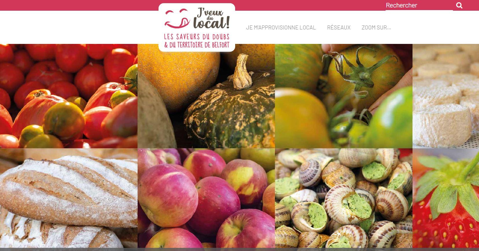 """La page d'accueil du site """"jveuxdulocal"""" pour le Doubs et le Territoire de Belfort."""