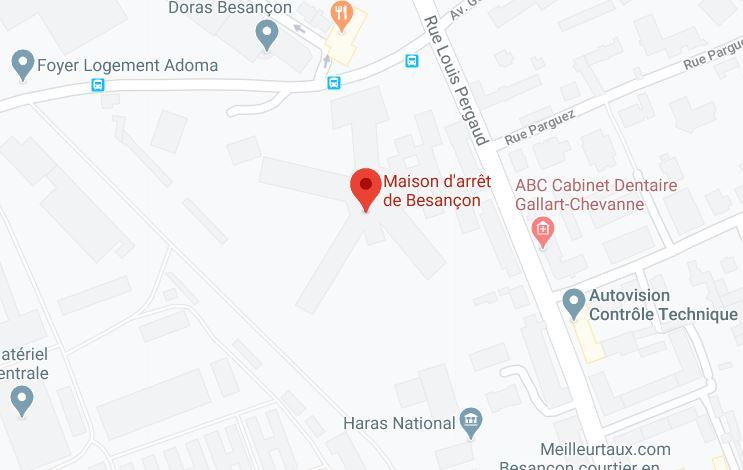 la maison d'arrêt de Besançon sur Google Maps.
