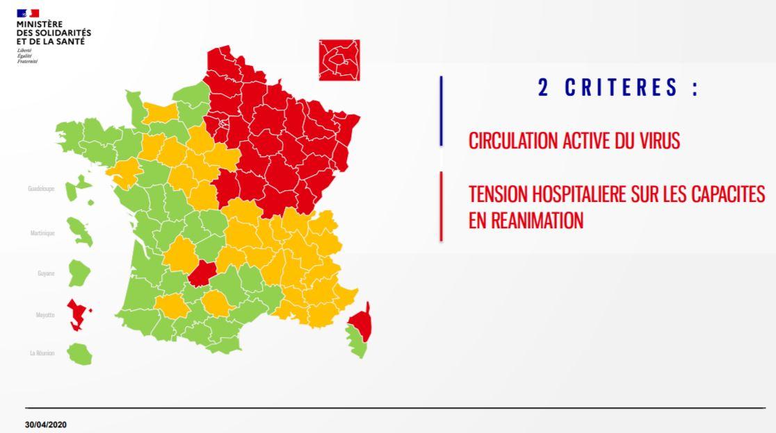 La première carte de situation de l'épidémie de covid 19 diffusée ce jeudi 30 avril par le ministère de la Santé et des Solidarités.