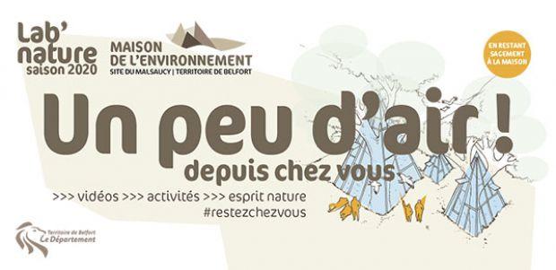 La Maison départementale de l'environnement du Territoire de Belfort propose de prendre l'air depuis chez soi.