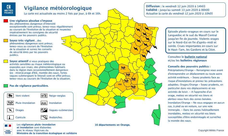 La carte de vigilance de Météo France de ce vendredi 12 juin 2020.