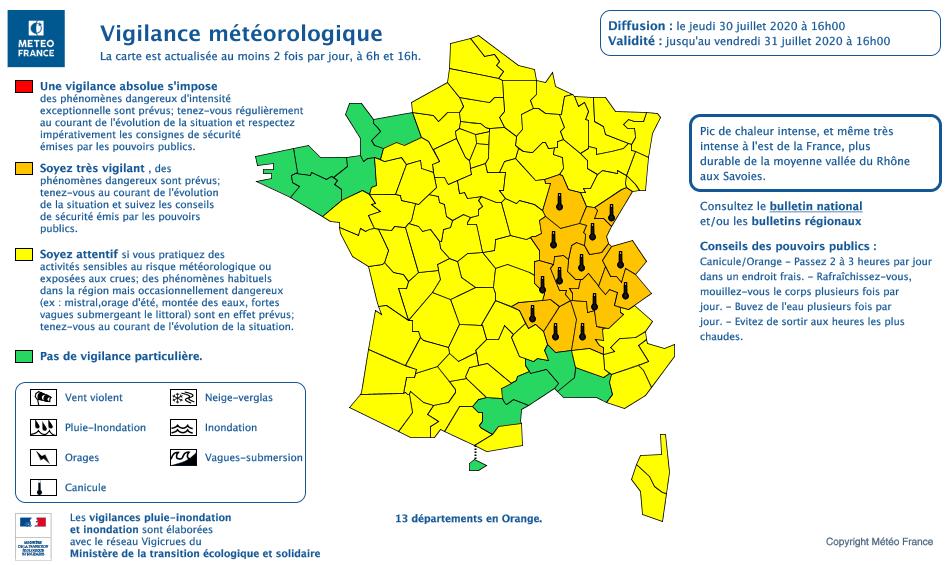 Météo France place le DOubs en vigilance orange du 30 juillet 16h au 31 juillet 16h et invite à la vigilance aux pics de chaleur.