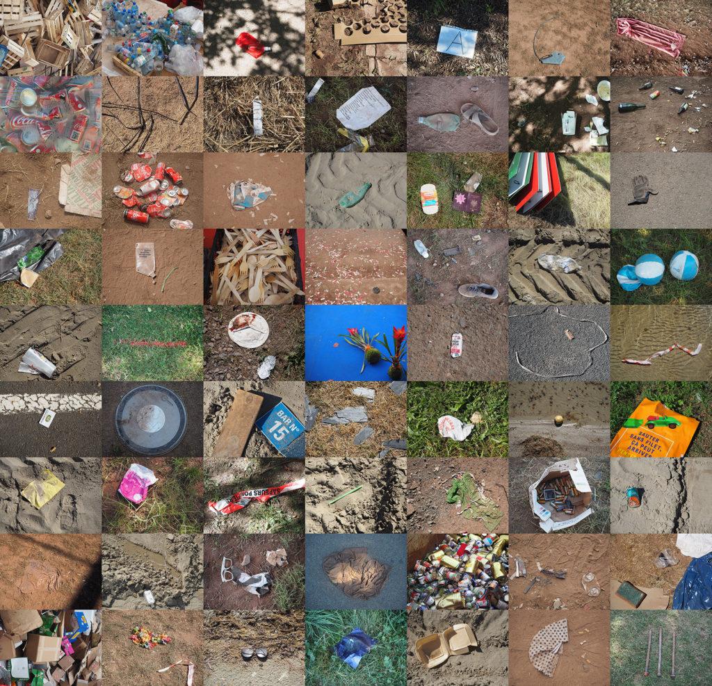 Mosaique de déchets sur le site des Eurockéennes de Belfort au Malsaucy