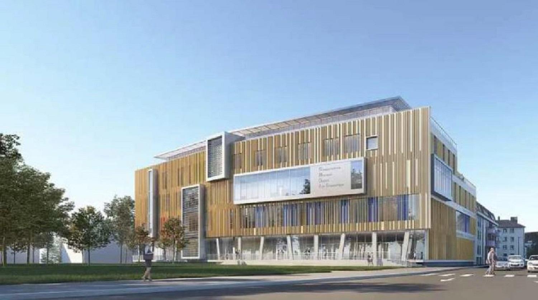La façade principale du futur conservatoire du Pays de Montbéliard, conçu par le cabinet Jacques Ripault Architecture, basé à Paris.