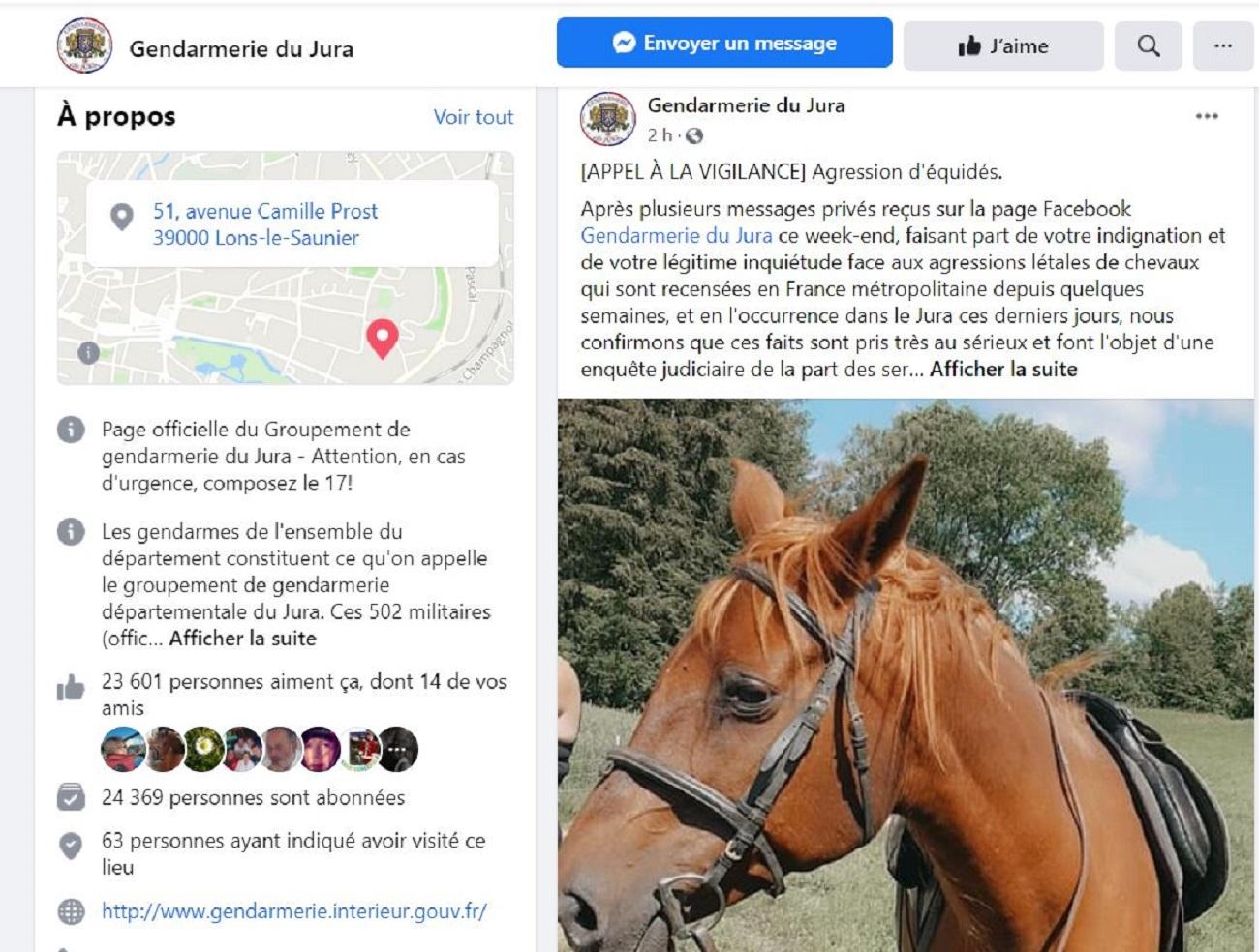Un appel à la vigilance a été lancé sur la page Facebook de la gendarmerie du Jura.