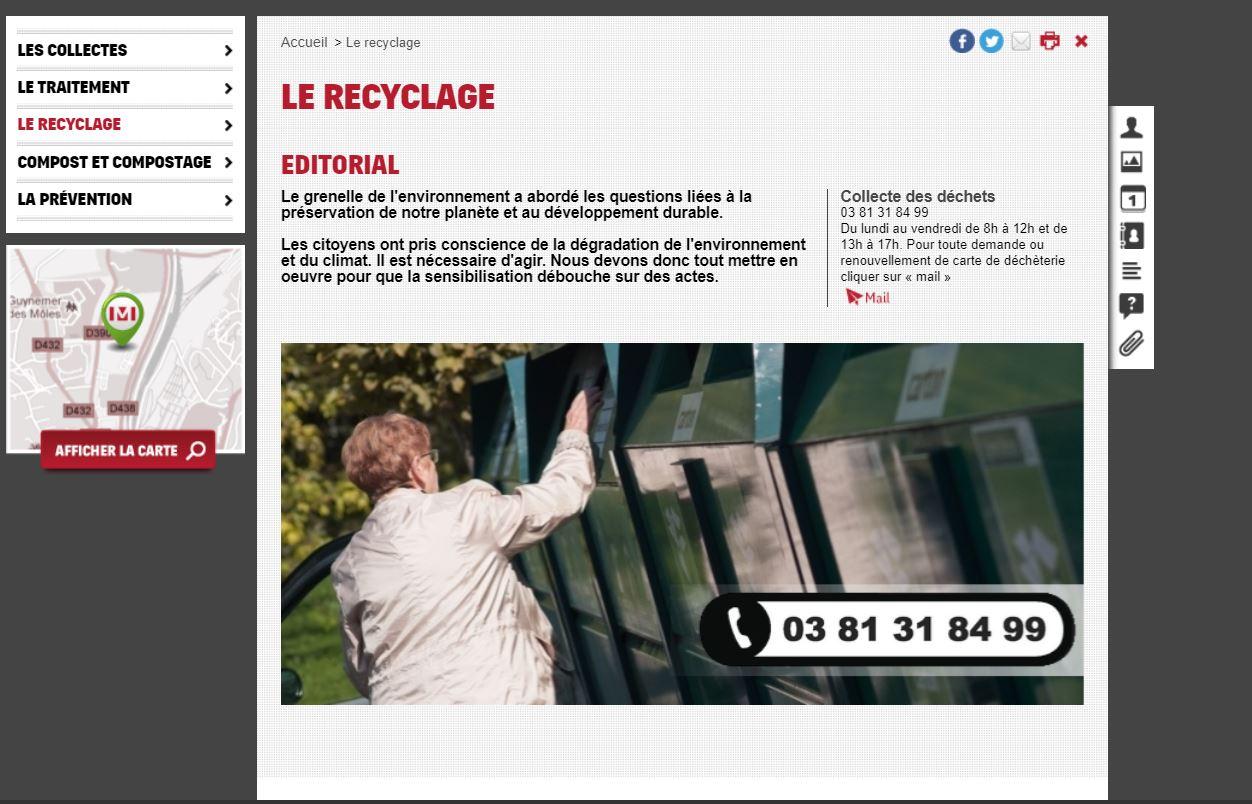 La page du site de PMA consacrée au recyclage.