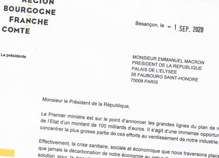 Marie-Guite Dufay invite le Gouvernement à mettre le gros des efforts du plan de relance sur l'hydrogène vert.