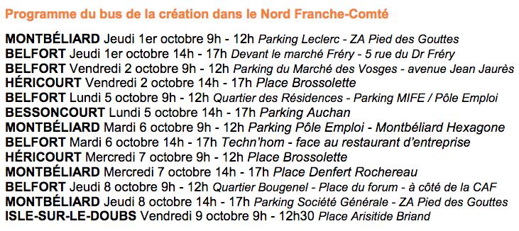 Planning du BGE bus de la création dans le nord Franche-Comté, du 1er au 9 octobre.