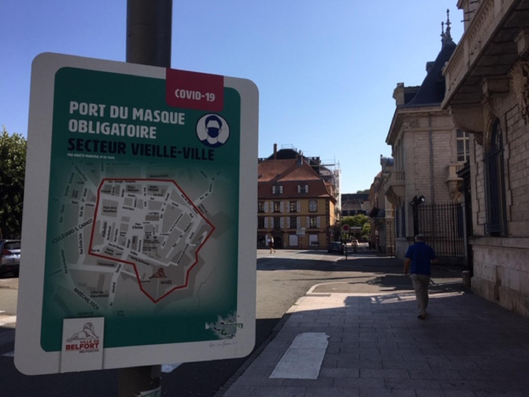 Le port du masque devient obligatoire dans toute la ville de Belfort, et non pus dans certaines zones.