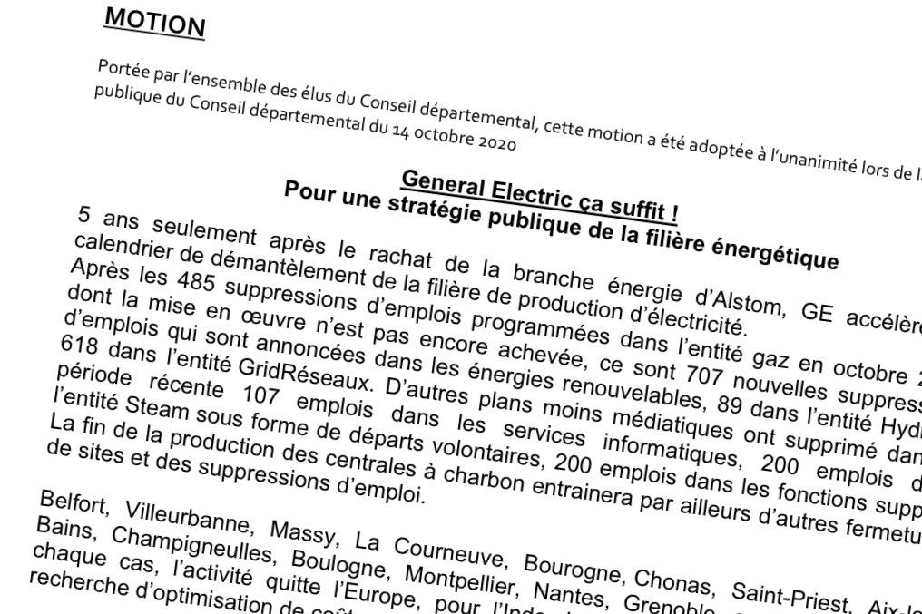 Le conseil départemental du Territoire de Belfort a adoptée une motion pour envisager l'après GE.