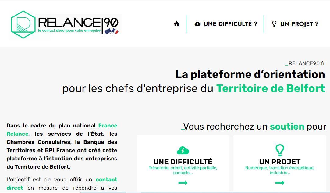 La page d'accueil du site relance90.fr