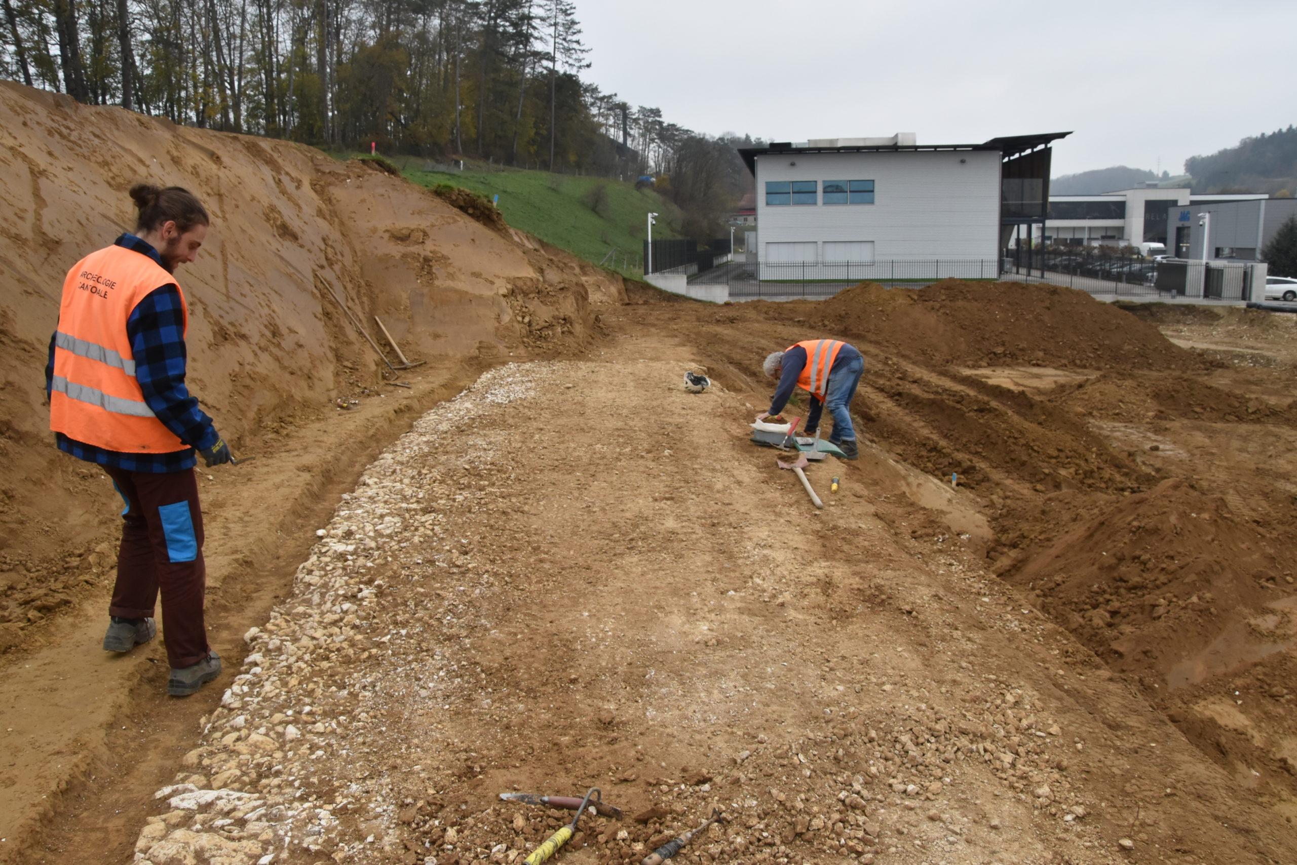 Voie romaine découverte près de Porrentruy en novembre 2020.