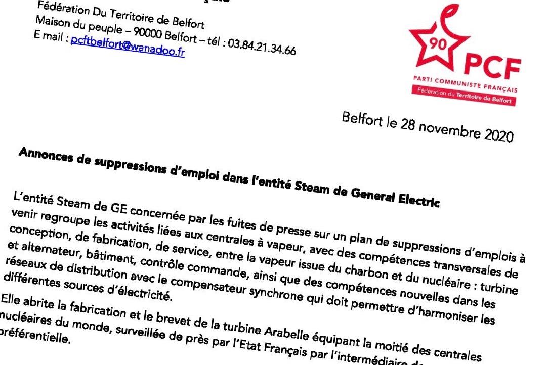 Le parti communiste français du Territoire de Belfort réagit aux annonces de nouveaux plans chez GE