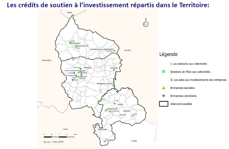 Les entreprises et collectivités du Territoire de Belfort bénéficiaires d'aides sont cartographiées ici.