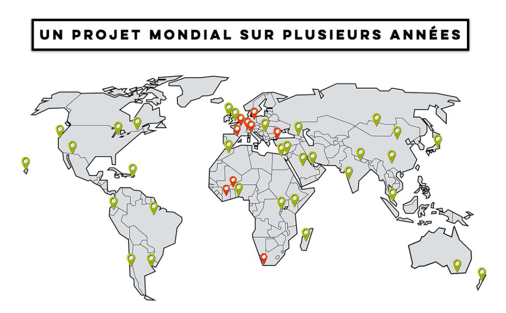 Carte du projet Beyond the wall, à travers le monde, de l'artiste belfortain Saype (capture d'écran de son site Internet), composé de 41 étapes. 9 ont été réalisées.