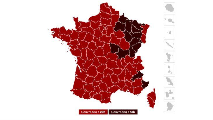 La carte du couvre-feu en France: en rouge foncé, à 18 h, en rouge moins foncé, à 20 h.