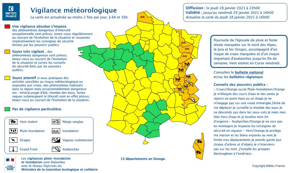 Carte vigilance météo jeudi 28 janvier 2021