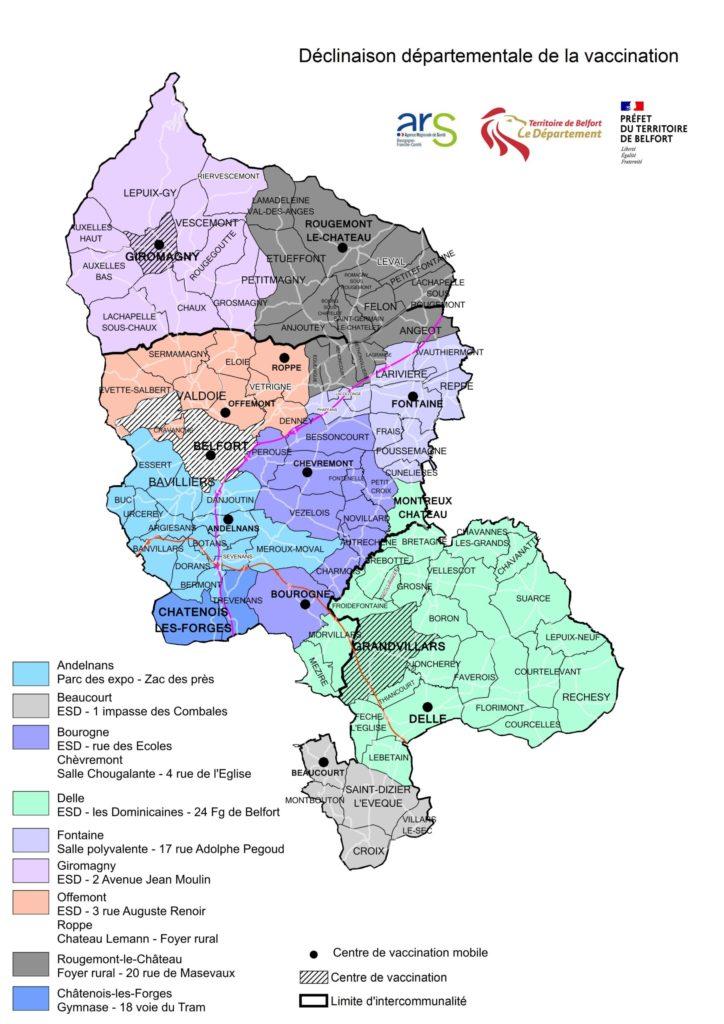 Carte de vaccination mobile dans le Territoire de Belfort, contre la covid-19.