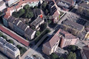 """Ancienne école d'infirmières de Belfort. Le bâtiment va être détruit et le lieu sera transformé en espace vert, dans ce quartier """"très minéral"""". La démolition est prévue cet été et l'aménagement à l'automne (coût : 700 000 euros)"""