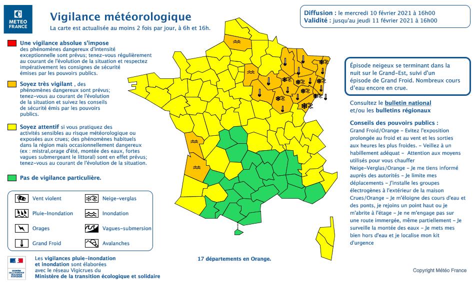 Météo France annonce une chute des température et maintient sa vigilance orange. (carte Météo France)