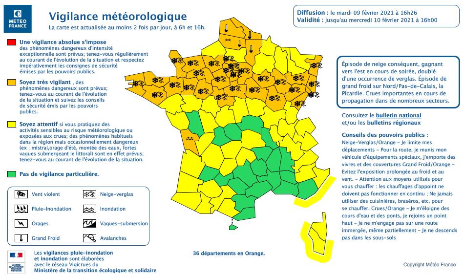 Neige et verglas sont annoncés pour cette nuit dans le nord Franche-Comté (doc Météo France)