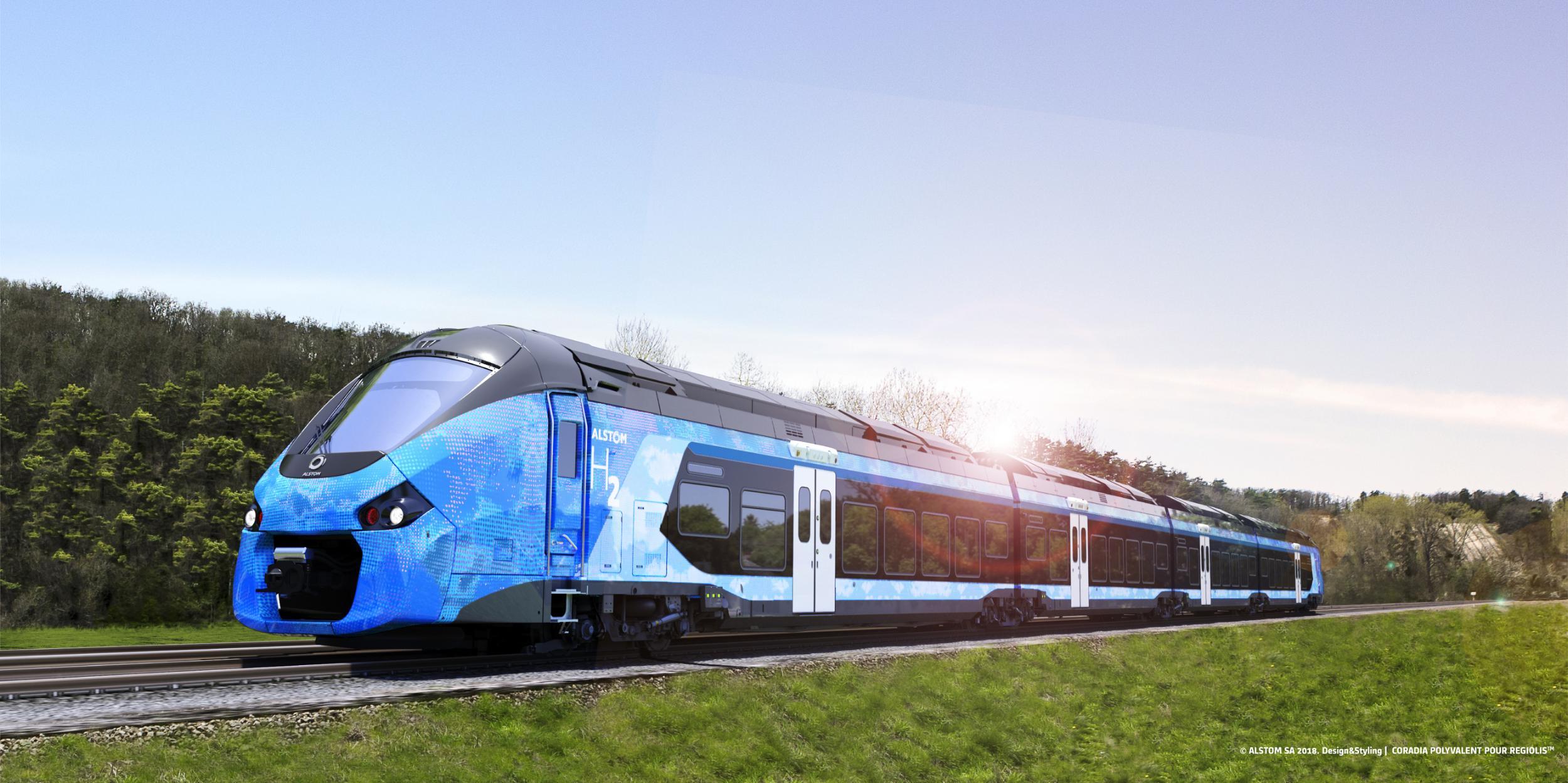 """Le """"Coradia Polyvalent bimode hydrogène"""", train à hydrogène pour les régions françaises (c) Alstom / Design & Styling"""