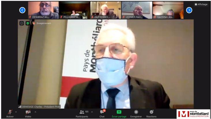 Charles Demouge en visio-conférence pour la séance de PMA du 11 mars 2021.
