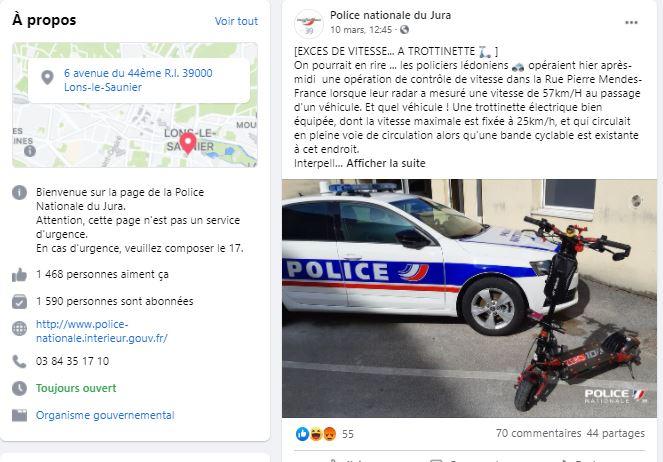 Le post de la police du Jura sur la trottinette délictueuse.