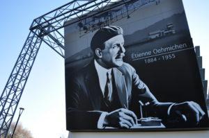 L'aérodrome du pays de Montbéliard a restauré ses hangars, en les décorant avec de grandes fresques. Ici, un portrait géant d'Étienne OEhmichen, le père de l'hélicoptère et dont le premier test a été fait à quelques encablures de la tour de contrôle.