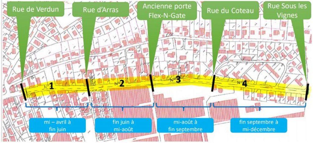 Le calendrier de phasage des travaux à Audincourt, rue de Seloncourt. (Document Pays de Montbéliard Agglomération)