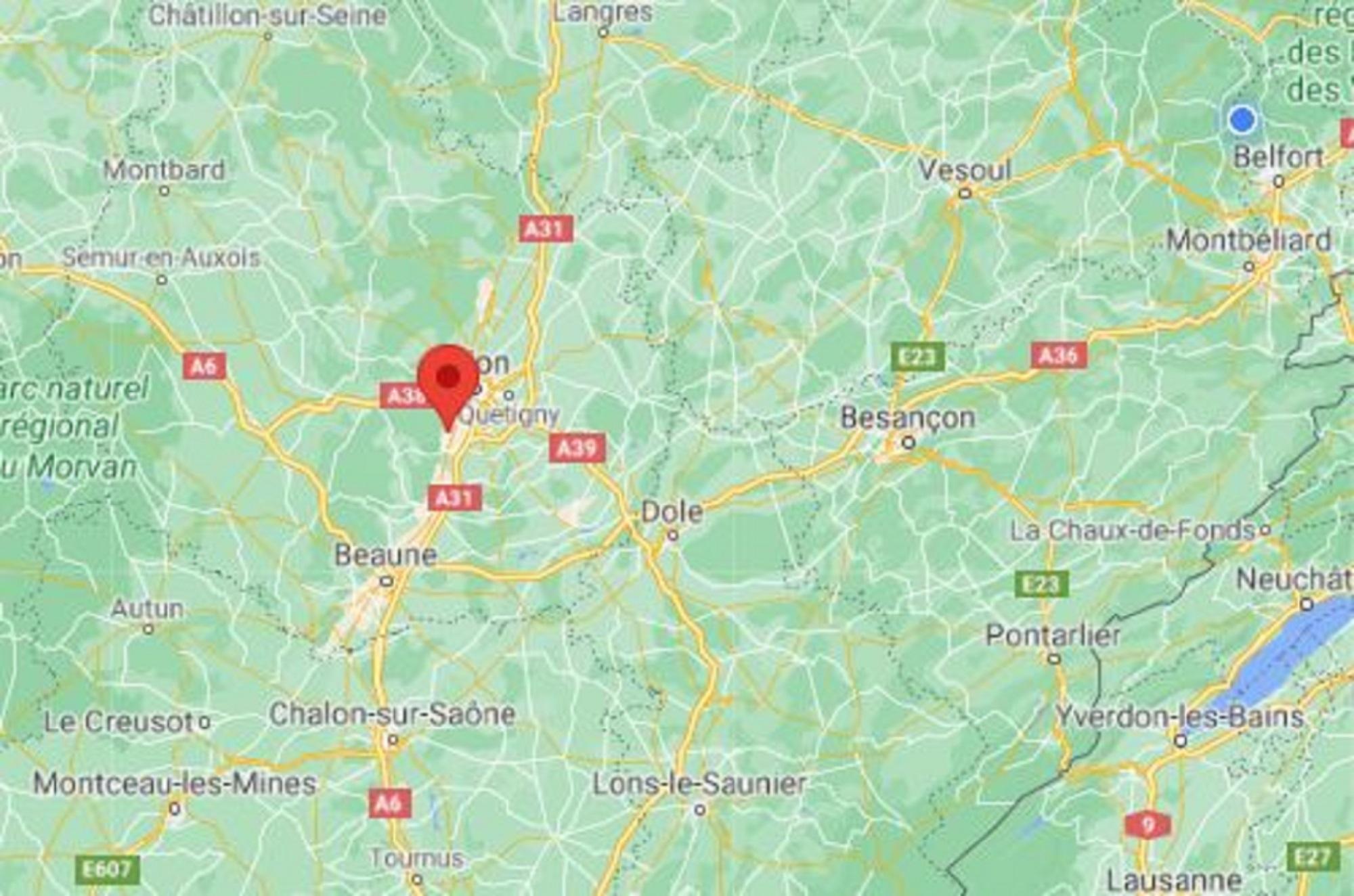 La soirée était organisée à Couchey, près de Dijon. (copie d'écran Google Maps)