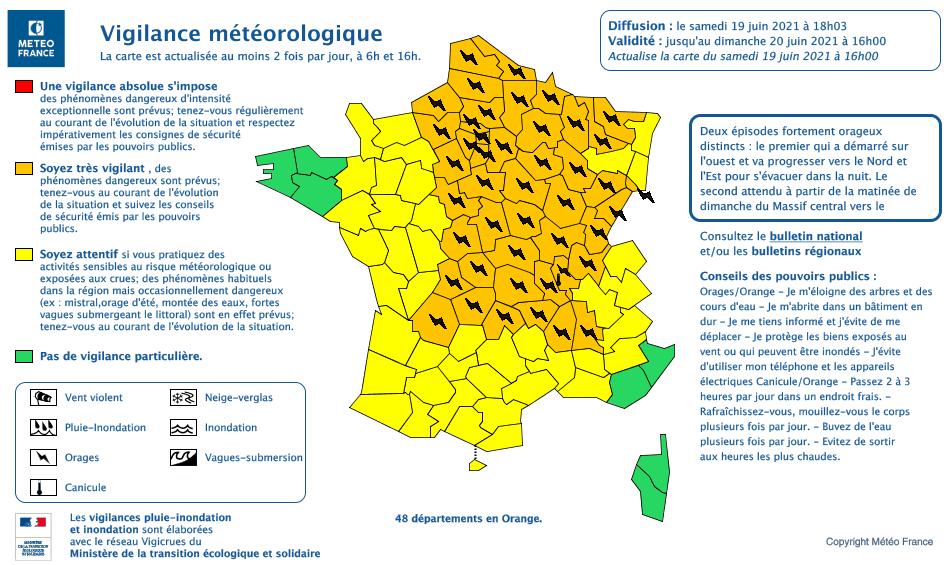 Bulletin alerte météo orages 19 juin 2021