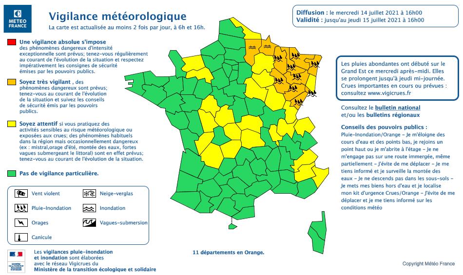 La carte de vigilance de Météo France de ce mercredi 14 juillet à 16 h.