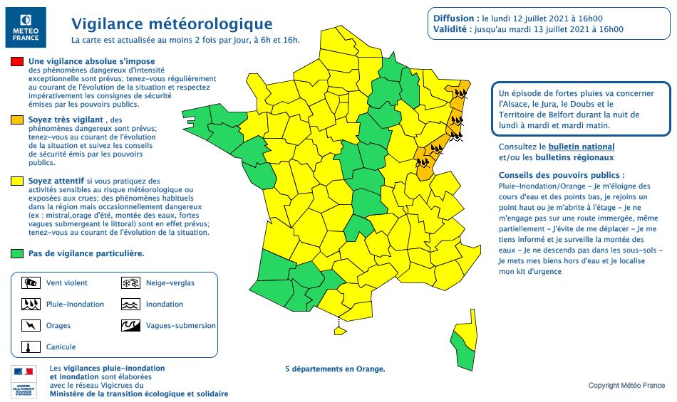 Alerte Météo France 12 juillet 2021