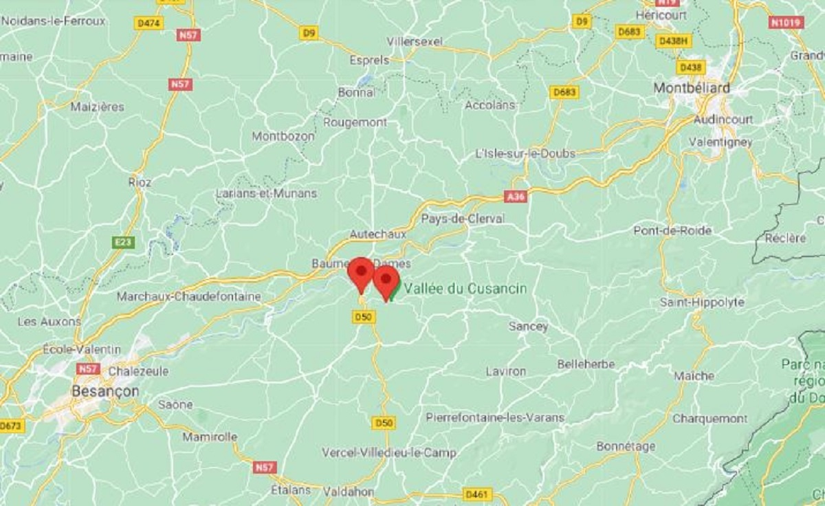 Guillon-les-Bains, près de Baume-les-Dames, entre Montbéliard et Besançon.