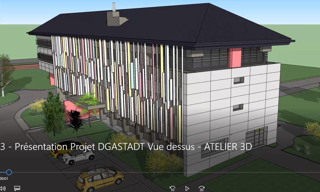 Une vue d'architecte du bâtiment du conseil départemental après travaux de rénovation énergétique.